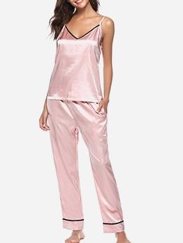 Smooth Silk Spaghetti Strap Loose Pajama Sets
