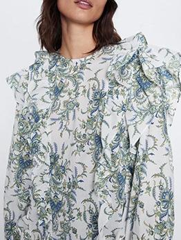 Ruffled Layers Printed Long Sleeve Blouse