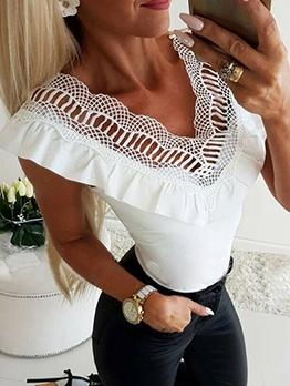 Patchwork Ruffle V Neck White Sleeveless T Shirt