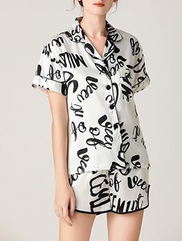 Letter Printing Single Breasted Imitated Silk Pajamas Set