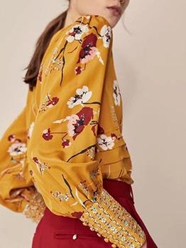 Fashion Flower Printed Long Sleeve Blouse
