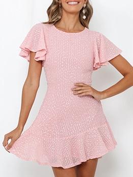 Ruffled Sleeve Pink Short Sleeve A-Line Dress