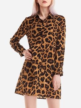 Single-Breasted Leopard Print Chiffon Shirt Dress