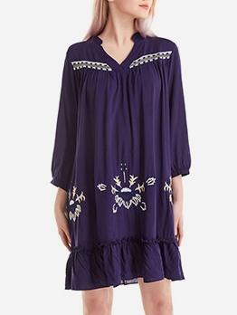 Embroidery Loose Navy Long Sleeve Boho Dress