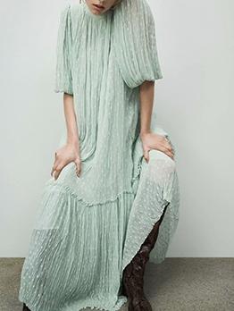Lantern Sleeve Thin Draped Green Maxi Dress