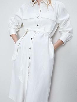 Single-Breasted White Denim Midi Dress