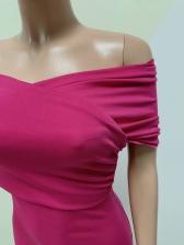 Elegant Solid Off Shoulder Short Sleeve Bodycon Dress
