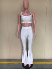 Sexy No Pockets Sleeveless Crop Top And Pants Set