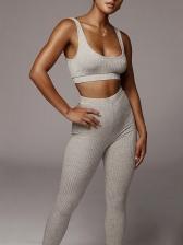 Plain Solid Color U Neck Skinny Yoga 2 Piece Sets