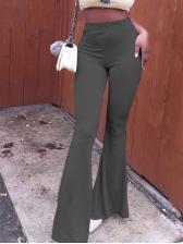 Pure Color High Waist Women Bell Bottom Pants