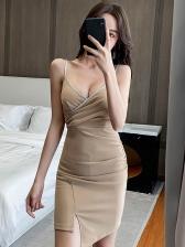 Low-Cut Solid Sleeveless Club Dress