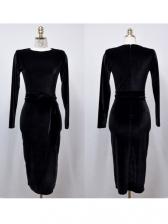Split Hem Long Sleeve Velvet Dress For Women