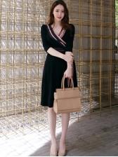 Elegant V Neck ContrastTipping Tie-Wrap Ladies Dress