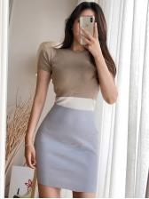 Contrast Color Skinny Short Sleeve Knit Dress