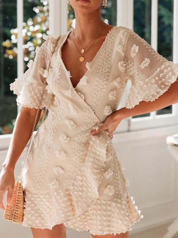 Fashion v Neck Stereo Flower Summer Dresses