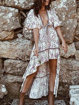 Bohemian Vintage High-Low Printed Maxi Dress