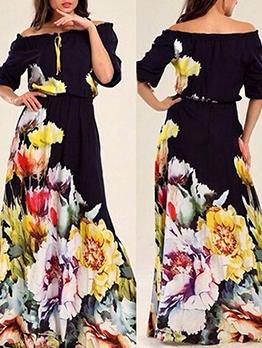 Flower Pattern Off The Shoulder Maxi Dress