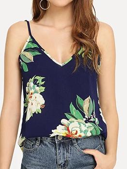 Summer Flower Print V Neck Cami Top