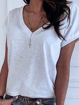 Simple Style Short Sleeve V Neck T-shirt