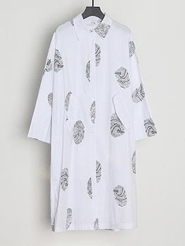Loose Footprint Shirt Long Sleeve Dress Casual