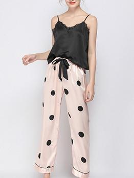 Lace Edge Dot Stripe Summer 2 Piece Pants Pajamas Set