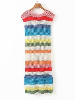 Colorful Striped Hook Flower Sleeveless Summer Dresses