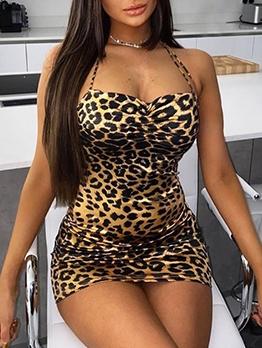 Backless Leopard Sleeveless Bodycon Dress