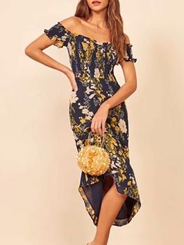 Elastic Flower Printed Off The Shoulder Midi Dress
