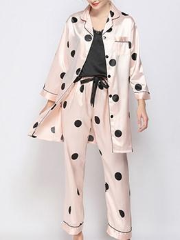 Polka Dot Turndown Neck Leisure Satin Pajama Set