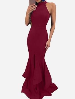 Ruffle Hem Skinny Sleeveless Evening Dress Sale