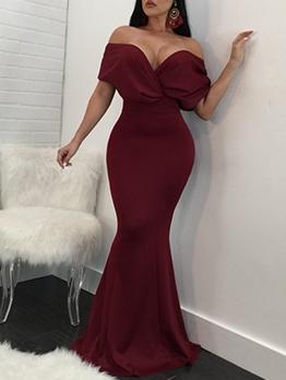 Deep V Neck Solid Long Skinny Formal Dresses