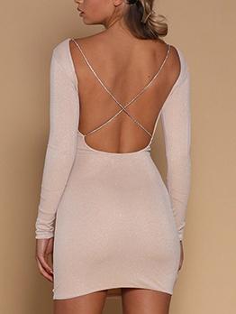 Sexy Open Back Long Sleeve Bodycon Dress