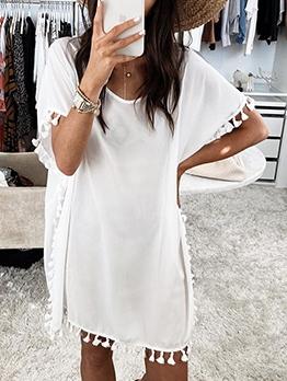 Loose Tassels Lacework Solid Short Sleeve Summer Dresses
