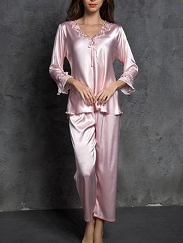 Spring Imitation Silk Long Sleeve V Neck Loose Home Wear