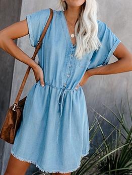 V Neck Solid Short Sleeve Wrap Dress