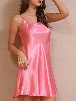 Minimalist Style Crew Neck Solid Slip Dress Nightwear