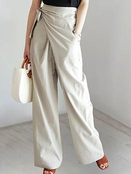 Chic Design Bow High Waist Wide Leg Pants