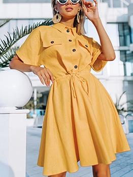 Leisure Turn-Down Collar Short Sleeve Summer Dress