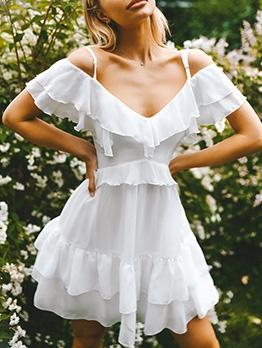 V Neck Ruffled White Short Sleeve Dress