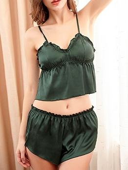 Comfortable Pure Color Sleeveless Silk Pajamas
