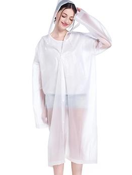Solid Color Button Up Pe Non Disposable Raincoat