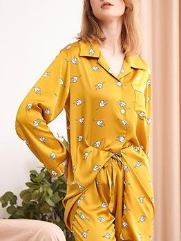 Smooth Cartoon Printed Long Sleeve Pajama Sets
