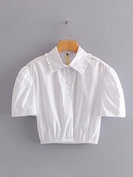 Ruffled Turndown Collar Elastic Waist Short Sleeve Crop Blouse