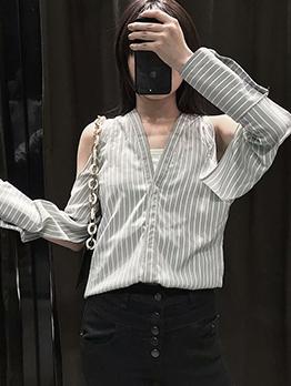 Chic Cold Shoulder V Neck Striped Blouse