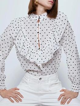 Stand Collar Print Ruffled Long Sleeve Blouse