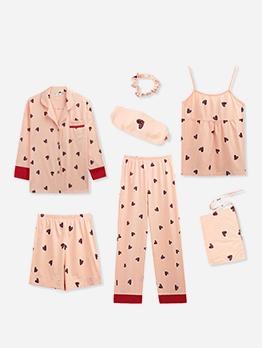 Pineapple Heart Printed Cute Pajamas 7 Piece Set