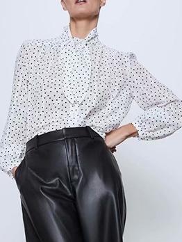 Fashion Tie Neck White Polka Dot Blouse