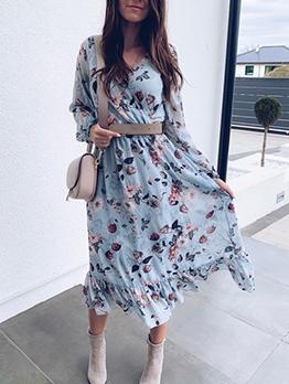 V Neck Blue Floral Long Sleeve Chiffon Maxi Dress