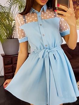 Polka Dot Gauze Patch Short Sleeve Shirt Dress
