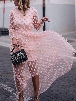 Crew Neck Jacquard Weave Pink Long Maxi Dress